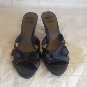 Women's Satin Navy heeled sandals